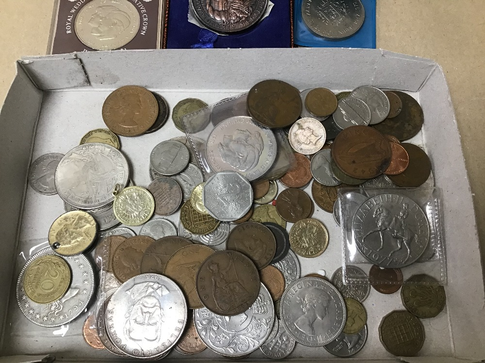 Lot 19 - A COLLECTION OF MIXED USED COINAGE INCLUDING ENGLISH AND FOREIGN