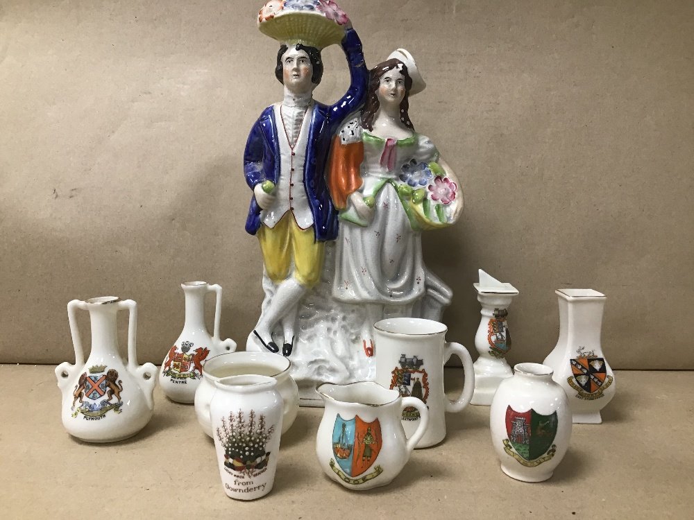 Lot 16 - NINE PIECES OF CRESTED CHINA, TOGETHER WITH A STAFFORDSHIRE FLAT BACK