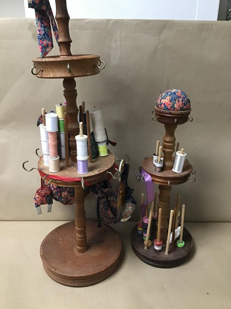 Lot 3 - TWO COTTON REEL STANDS, UPON WHICH INCLUDE NUMEROUS LIBERTY PIN CUSHIONS ETC
