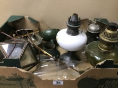 VARIOUS VINTAGE LIGHTING, INCLUDING GLASS OIL LAMPS WITH FUNNELS, CEILING LIGHT ETC