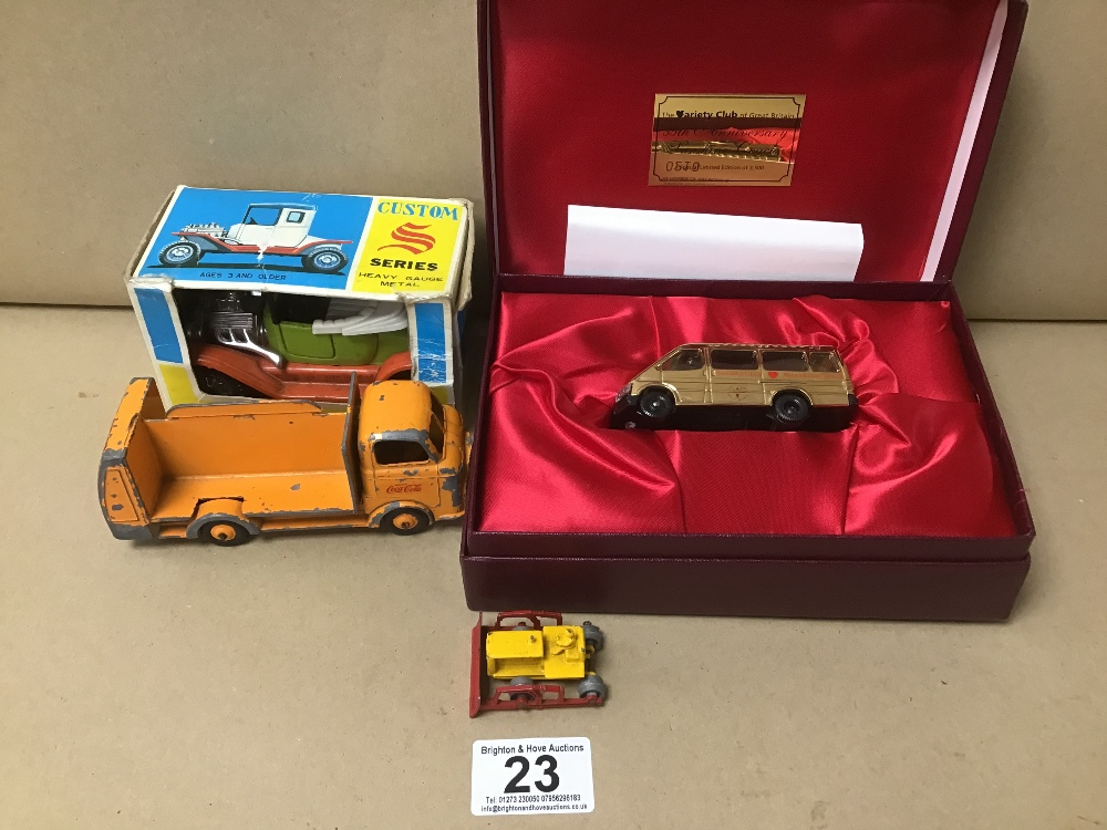 FOUR MODEL VEHICLES, INCLUDING VARIETY CLUB LIMITED EDITION GOLD PLATED SUNSHINE COACH BY LLEDO,