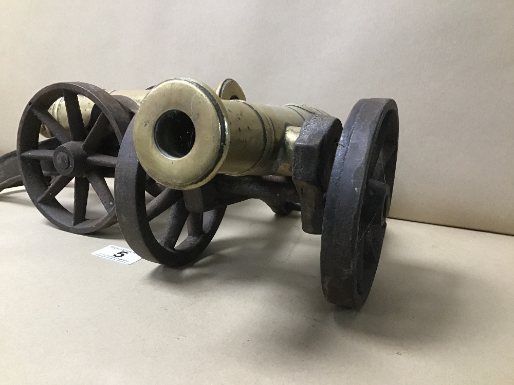 TWO HEAVY METAL CANNONS ON CAST WHEELS, 34CM LONG - Image 4 of 4