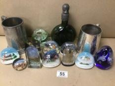 MIXED ITEMS INCLUDING PAPERWEIGHTS AND PEWTER TANKARDS