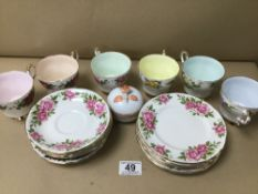 A PARAGON BONE CHINA SET OF TEA CUPS, SAUCERS AND SIDE PLATES, 18 PIECES IN TOTAL