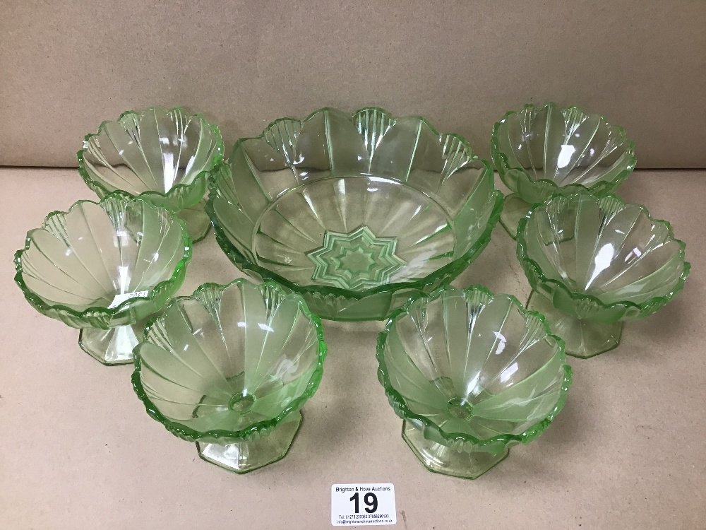 GROUP OF GREEN MOULDED GLASS, INCLUDING A SERVING BOWL AND SIX SUNDAE DISHES