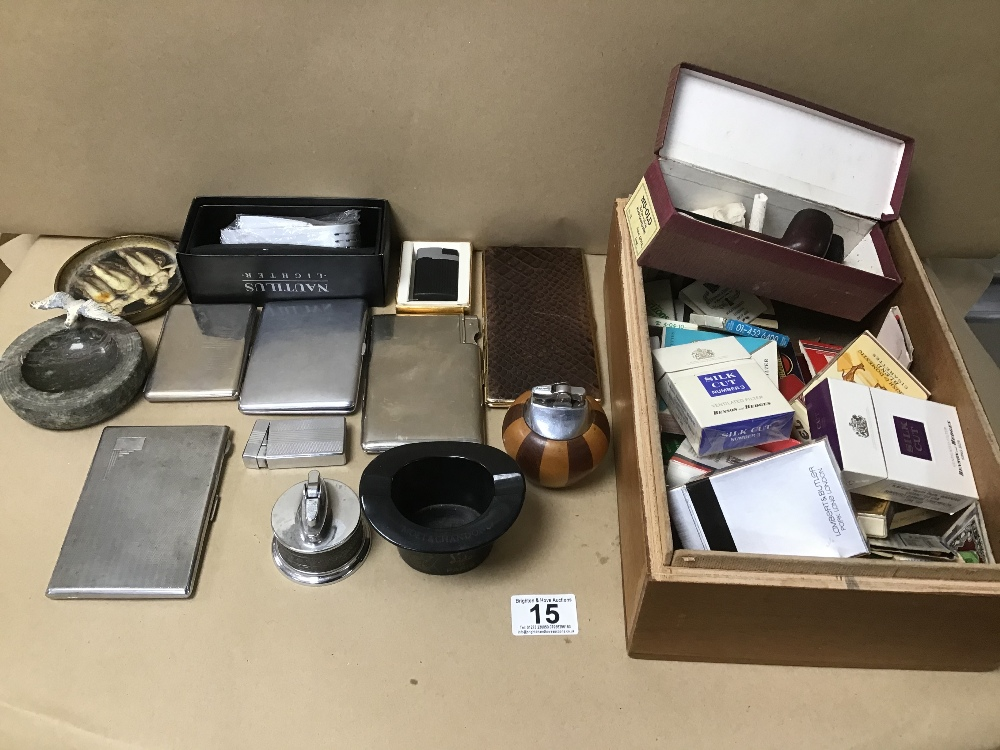 ASSORTED SMOKING RELATED COLLECTABLES, INCLUDING LIGHTERS, CIGARETTE PACKETS, CASES AND MORE, ALSO
