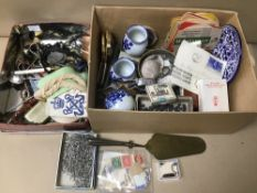 A BOX OF ASSORTED COLLECTABLES