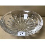 LARGE CUT CRYSTAL GLASS CENTREPIECE BOWL, 30.5CM DIAMETER