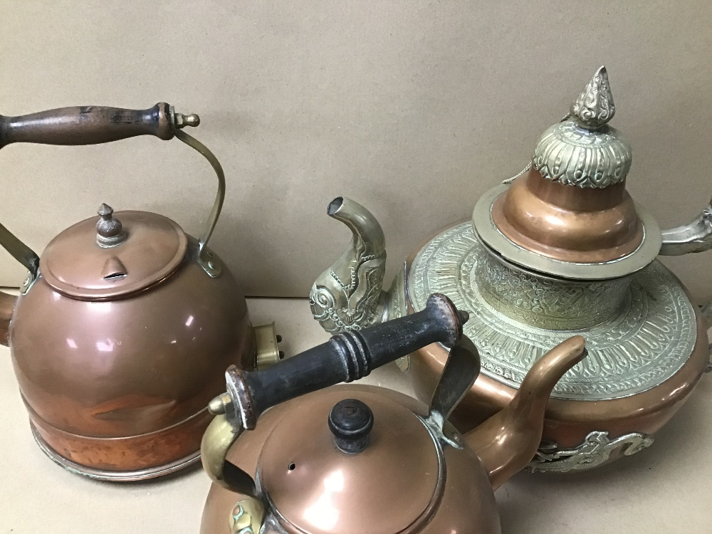 TWO EARLY COPPER AND BRASS KETTLES BY ELEXCEL AND CREDA, TOGETHER WITH AN ORIENTAL TEA POT - Image 4 of 4