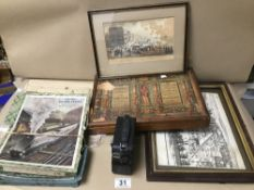 ASSORTED PICTURES AND EPHEMERA, INCLUDING EARLY FRAMED AND GLAZED PRINT OF BRIGHTON SEAFRONT, JIGSAW