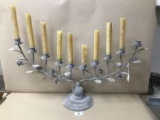 A LARGE TEN SCONCE GREY CANDLEABRA, 66CM WIDE