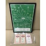 A GROUP OF 1950'S LONDON TRANSPORT BUS MAPS, ONE BEING FRAMED AND GLAZED