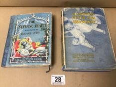 TWO EARLY CHILDRENS BOOKS; THE SLEEPING BEAUTY ILLUSTRATED BY ROLAND PYM, POP OUT EXAMPLE,