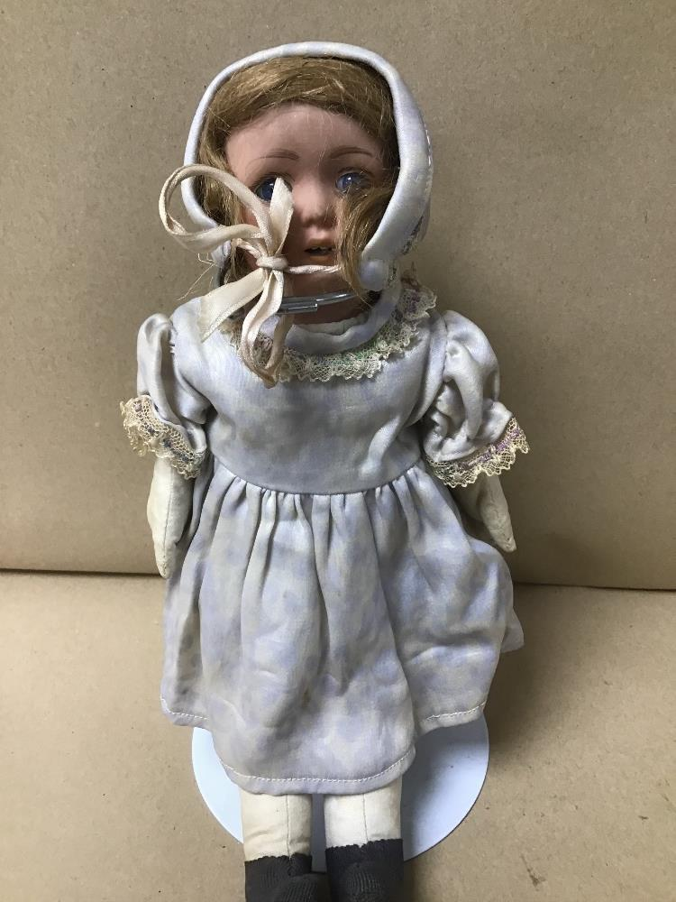 A VINTAGE DOLL ON STAND NUMBERED TO NECK 68-5 - Image 2 of 3