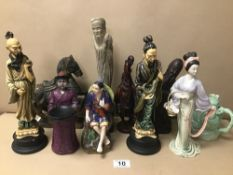 A COLLECTION OF ORIENTAL FIGURES, INCLUDING RESIN, CERAMIC AND STONE EXAMPLES