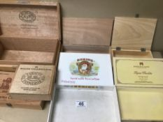 A QUANTITY OF CIGAR & CHOCOLATE WOODEN BOXES