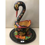 AN UNUSUAL CONTINENTAL PAPIER MACHE SWAN DISH WITH MATCHING TRAY, BOTH WITH FLORAL DECORATION ON A