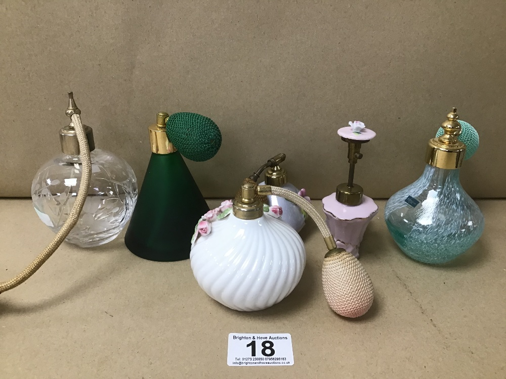 SIX VINTAGE LADIES ATOMIZERS INCLUDING CAITHNESS GLASS ETC