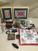 A MIXED BOX OF SILKS FRAMED GLASS AND METALWARE