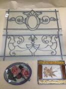 STAINED AND LEADED GLASS, LARGEST 51 X 25CM