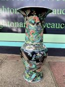 A LARGE BLACK CHINESE PORCELAIN KANGXI VASE WITH CHARACTER MARKS TOO BASE 45 CM