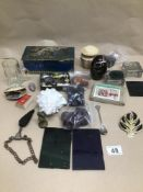 A MIXED BOX OF COLLECTABLES INCLUDING TINS, SHELLS AND GLASS
