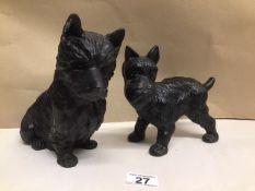 TWO CAST IRON TERRIER DOGS (DOOR STOPS) 20CM