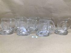 SEVEN DARTINGTON GLASS, COMMEMORATIVE TANKARD, SILVER JUBILEE, USA BICENTENNIAL, 1979 DERBY X2,