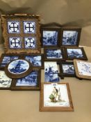 A QUANTITY OF MAINLY BLUE AND WHITE TILES SOME DUTCH DELFT