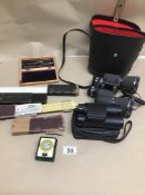 MIXED ITEMS INCLUDING TWO PAIRS OF BINOCULARS (MIRANDA AND SOURCE), BOTH CASED WITH A SCIENTIFIC