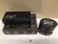 TWO JAPANESE BLACK LACQUERED WITH DECORATION BOXES WITH A MINIATURE THREE DRAWER HARDWOOD CHEST WITH
