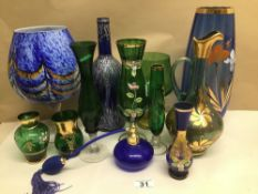A COLLECTION OF GREEN AND BLUE GLASS SOME VINTAGE INCLUDES MURANO