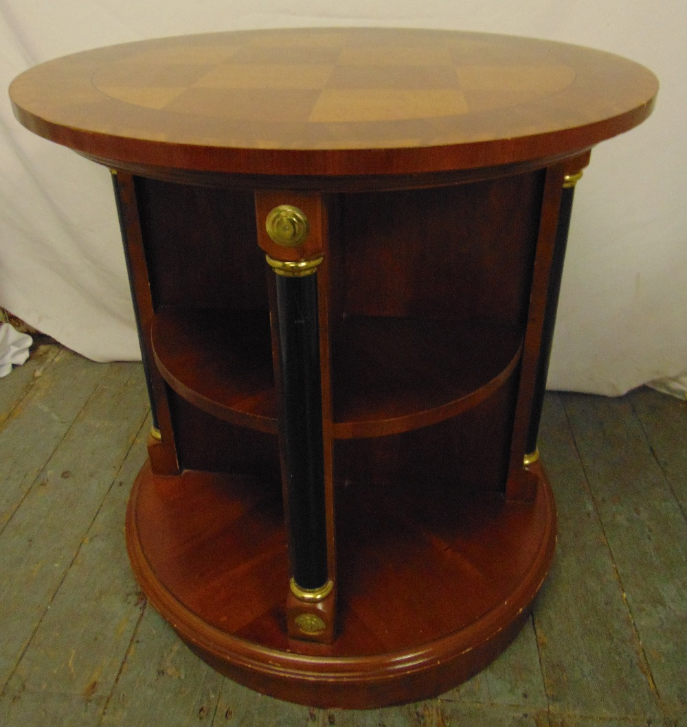 Lot 22 - A mahogany cylindrical inlaid revolving bookcase with gilt metal mounts