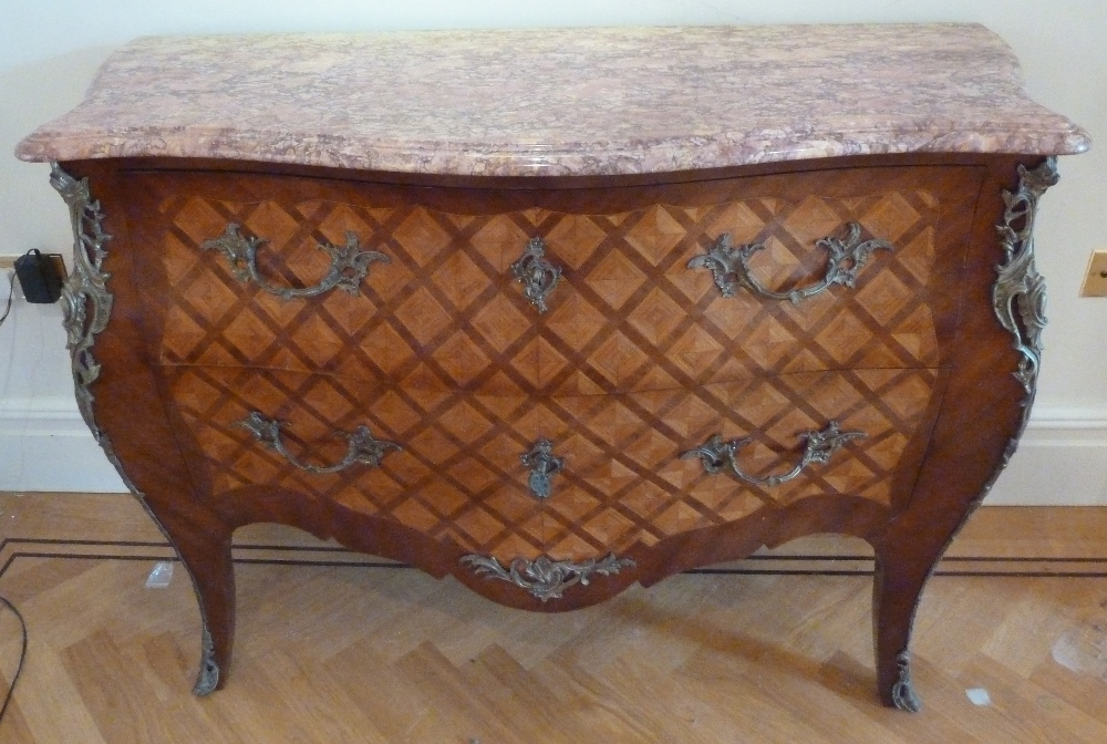 Lot 10 - A French Louis XVI style Kingswood chest of drawers with detachable marble top with gilded metal