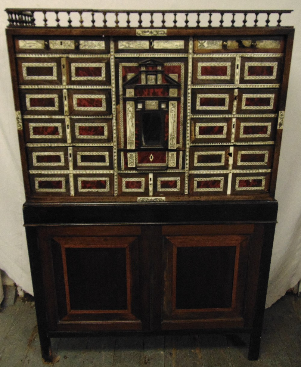 Lot 12 - A late 19th century rectangular collectors cabinet, with galleried top, bone and tortoiseshell