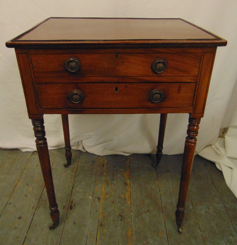 Lot 6 - A 19th century mahogany rectangular side table with hinged cover and sliding drawer on four turned