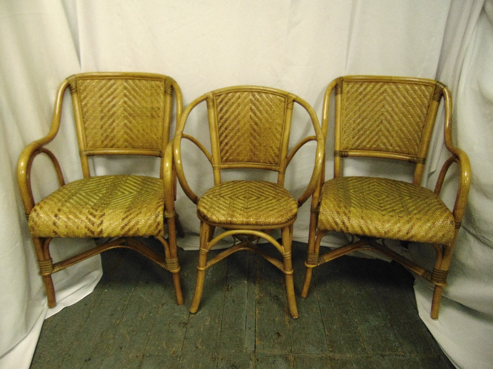 Lot 28 - A pair of Bentwood chairs with rattan seats and another