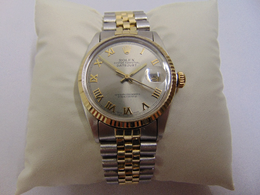 Lot 321 - Rolex Oyster Perpetual Datejust, stainless steel and 18ct yellow gold wristwatch, slate grey dial