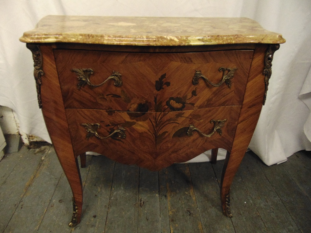 Lot 5 - Louis XVI style shaped rectangular chest of drawers with marble top, gilded metal mounts and handles