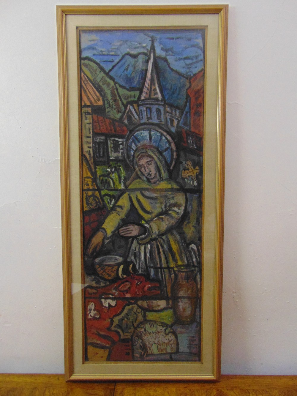 Lot 81 - Evie Sydney Hone 1894-1955, framed and glazed gouache on board study of the stained glass window