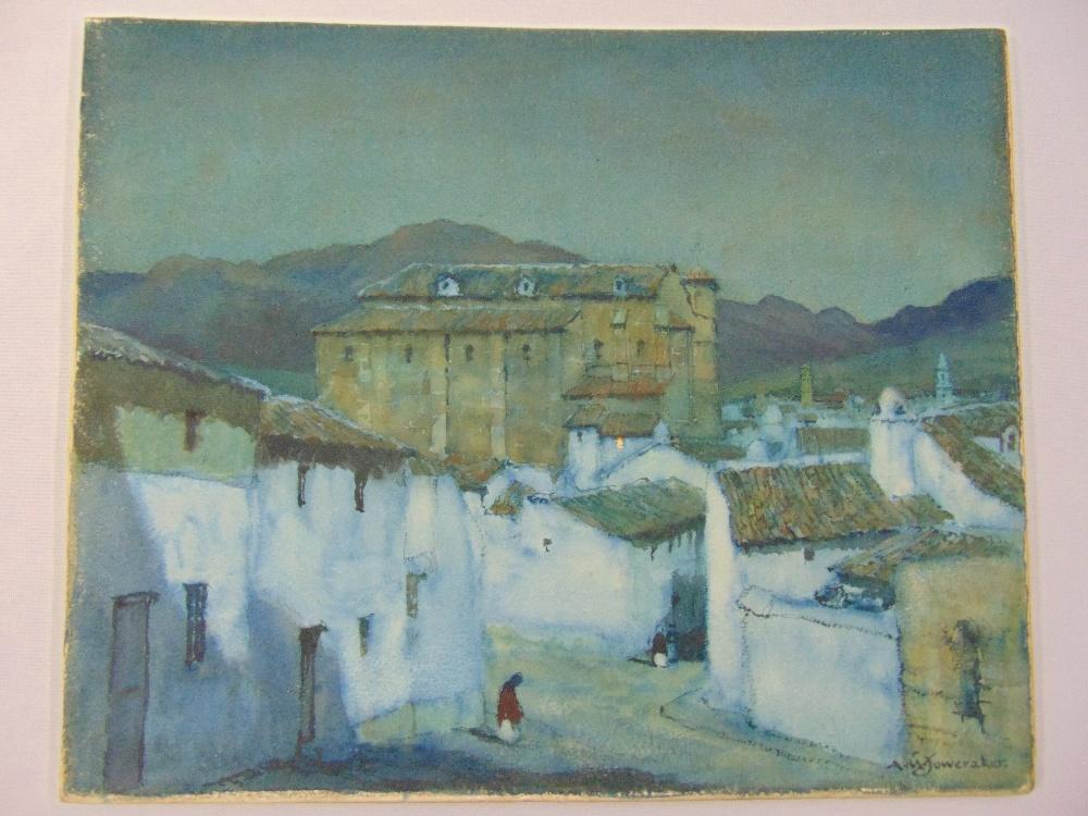 Lot 80 - Albert Moulton Foweraker 1873-1942 framed and glazed watercolour titled Moonlight Antequera,
