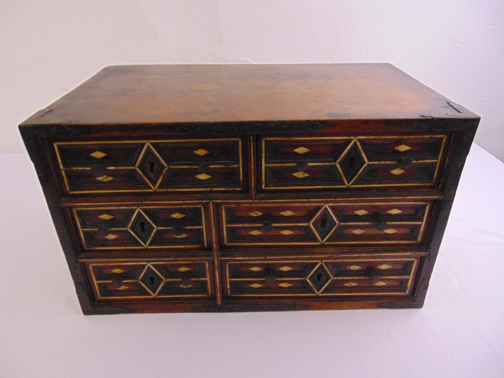 Lot 12 - Indo-Portuguese rectangular cabinet, the six drawers inset with bone decoration