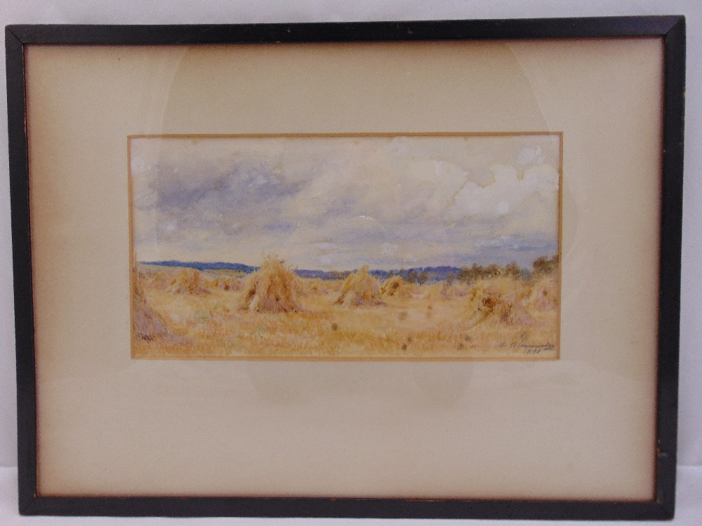 Lot 40 - Alexander framed and glazed watercolour of haystacks, signed and dated bottom right, 15 x 29cm
