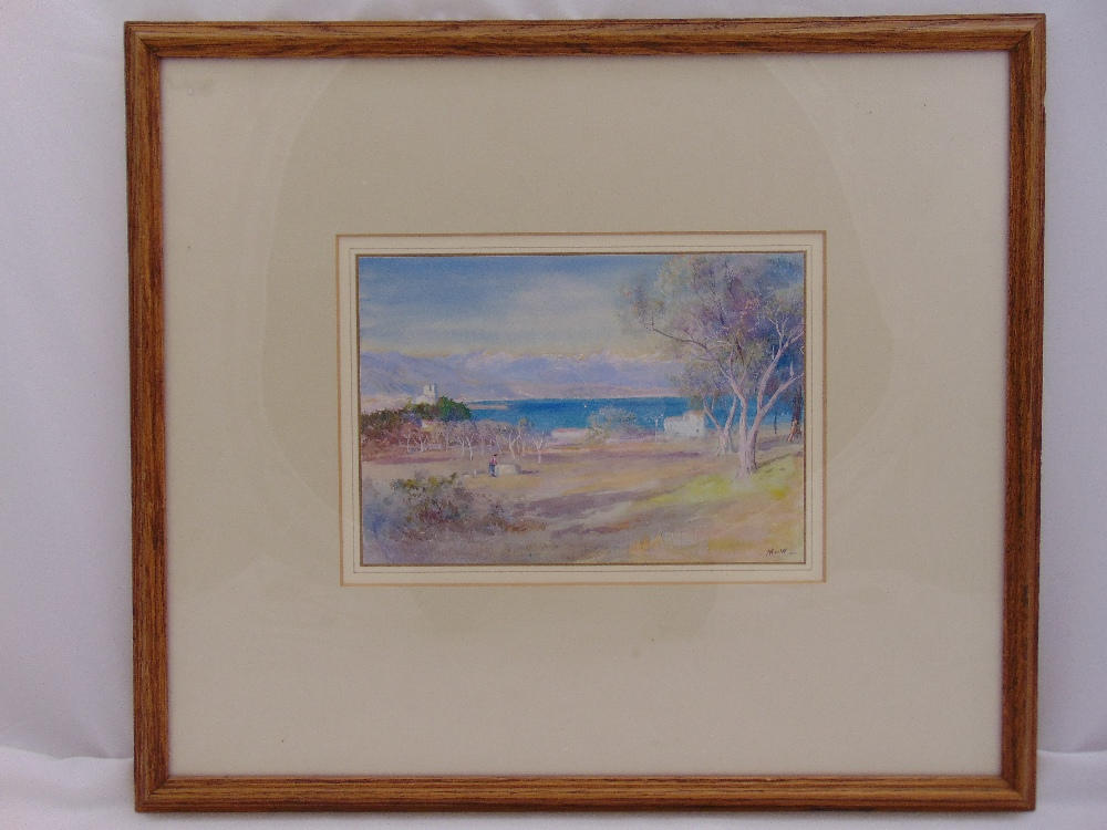 Lot 39 - John Macwhirter RA. ASA 1839-1911 framed and glazed watercolour of Cap d'Antibes, gallery label to