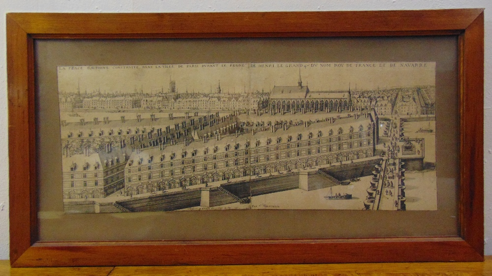 Lot 31 - A framed and glazed monochromatic etching of Place Dauphine Paris, 24 x 61.5cm