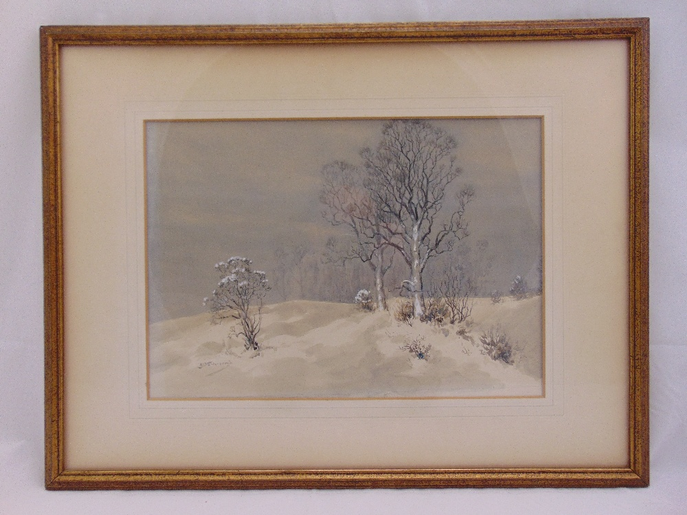 Lot 38 - Raymond J. Vandenbergh framed and glazed watercolour of a wintery landscape, signed bottom left,