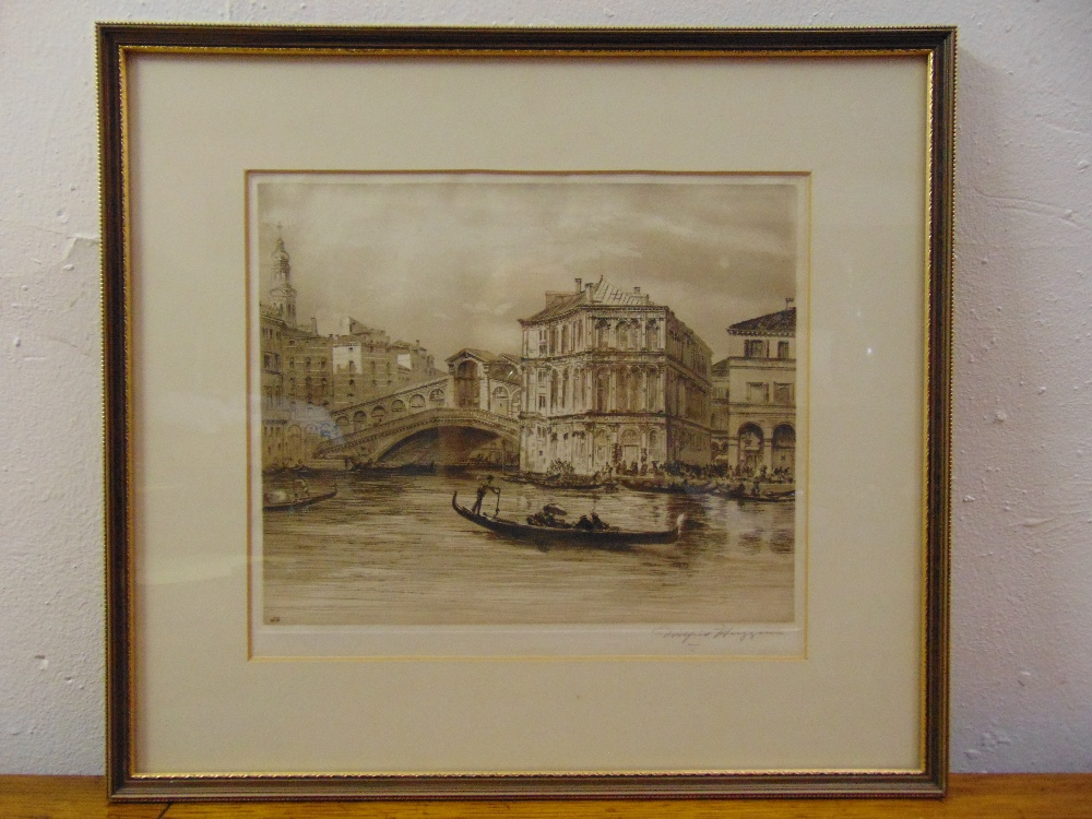 Lot 36 - Wilfrid Huggins framed and glazed monochromatic etching of the Grand Canal Venice, signed bottom
