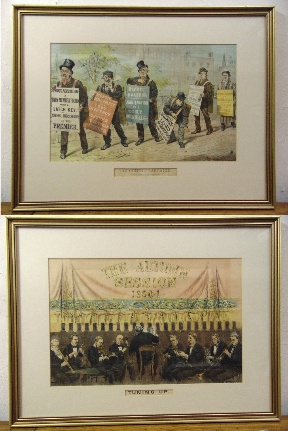 Lot 32 - Tom Merry two framed and glazed political polychromatic cartoons, The Comic Campaign 29.5 x 46.5cm