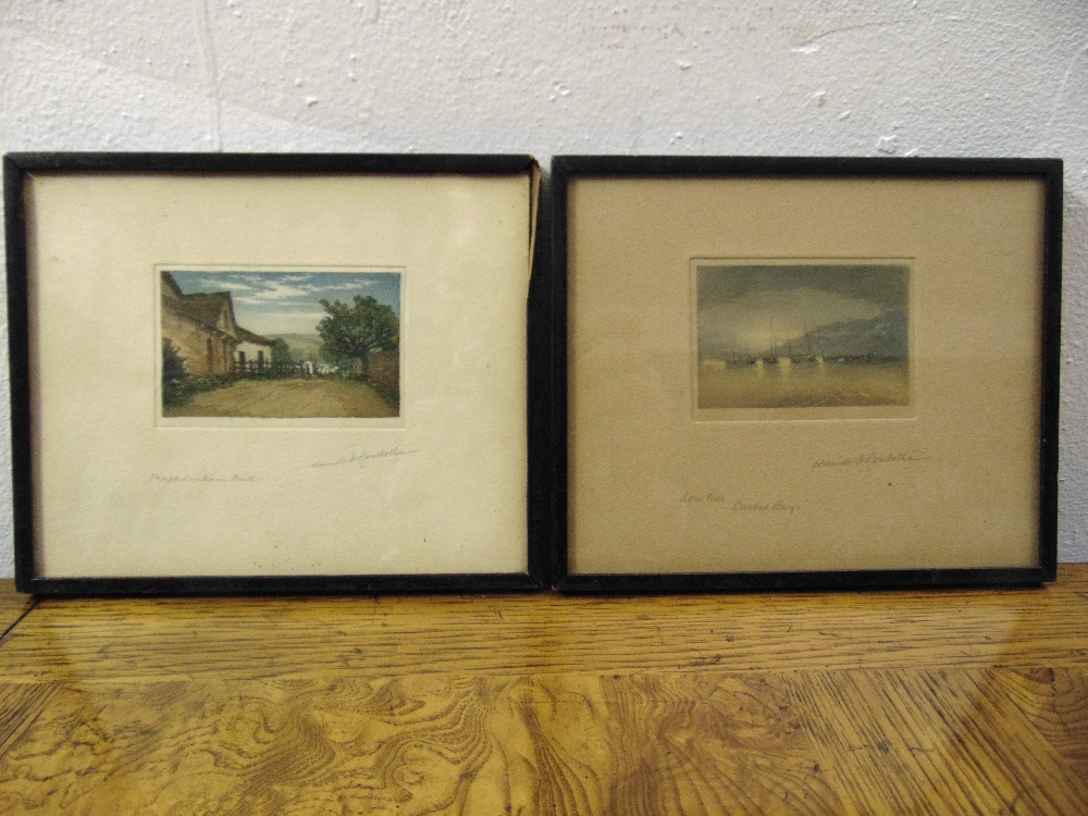Lot 34 - Claude Rowbotham two framed and glazed polychromatic etchings of a mill and a harbour, each 5.5 x