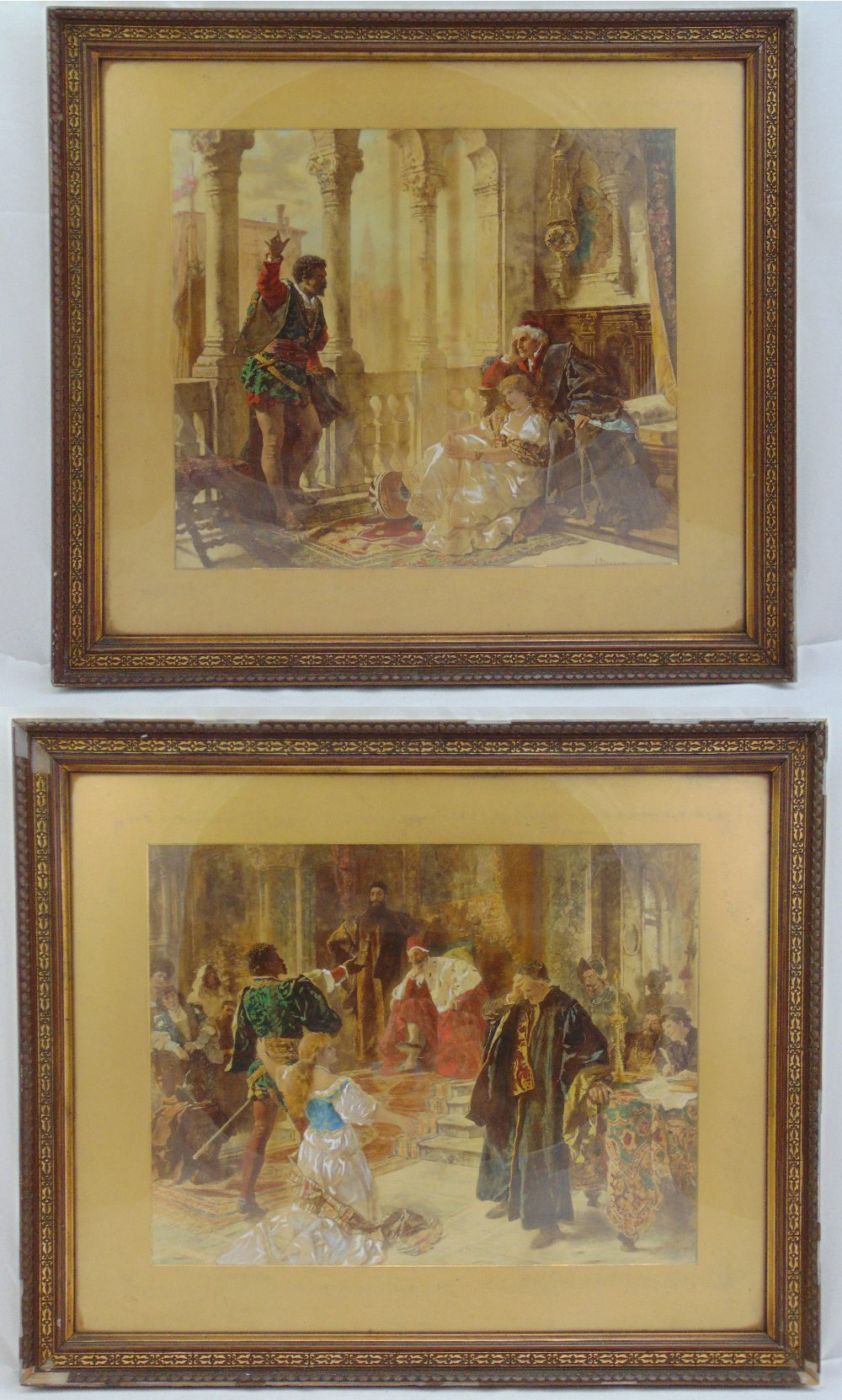 Lot 30 - Two framed and glazed polychromatic etchings of William Shakespeares Othello a. Edouard Frederic